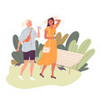 two girls on a walk in park in hot summer vector image vector image