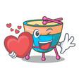 with heart cartoon timpani in the studio music vector image