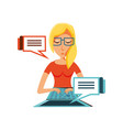 woman with laptop and speech bubbles vector image vector image