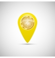 Yellow marker for maps with watch vector image vector image