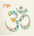 yoga day card of om india spiritual symbol vector image