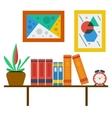 bookshelf on white wall vector image