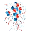 Blue red and white balloons vector image