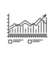 chart icon with bars and lines outline symbol for vector image