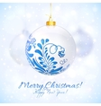 White Christmas ball in gzhel style vector image