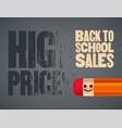 back to school sales poster pencil character vector image vector image