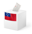 Ballot box with voting paper Samoa vector image vector image
