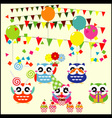 birthday party elements with cute owls vector image vector image