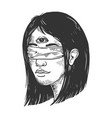 blindfolded girl with three eyes engraving vector image