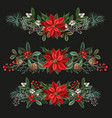 bouquets with botanical berries pines and leaves vector image