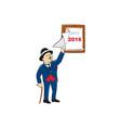 Bowler Hat Man Peeling 2016 Calendar vector image vector image