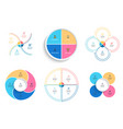 business infographics pie charts with 4 steps vector image