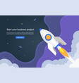 business start up concept with launching rocket vector image vector image