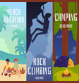 camping and rock climbing camp banners or flyers vector image vector image