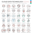 Cloud data technology database ultra modern vector image vector image