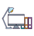 Computer and desk lamp icon