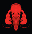 crayfish red logo isolated on black background vector image vector image