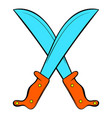 crossed machetes icon cartoon vector image vector image