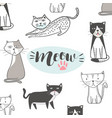 cute cat with hand drawn cartoon hip hop style vector image vector image