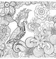 Cute cockatoo in fantasy flowers vector image