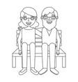 cute grandma and grandpa sitting in bench happy vector image vector image
