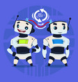 cute robot update happy smiling modern artificial vector image vector image
