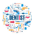 dental care tools stomatology surgery instruments vector image