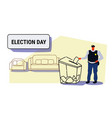 election day concept policeman voter putting paper vector image vector image
