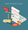 election voting isometric poster vector image vector image