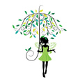Fairy with Floral Umbrella vector image vector image