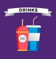 Fast food drinks pack set vector image