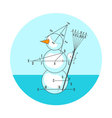 Geometric drawing snowman vector image vector image