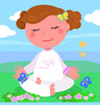 girl in meditaion pose vector image vector image