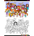 girls characters group coloring book vector image vector image