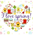 heart spring background vector image vector image