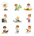 kids in financial business collection of cute boys vector image