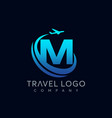 letter m tour and travel logo design vector image