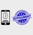 linear bitcoin mobile account icon and vector image vector image
