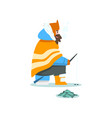 man fishing in a frozen river or lake extremal vector image vector image