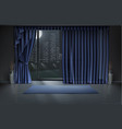 mockup of empty room interior in night vector image