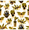 olive oil and fruit branch seamless pattern vector image vector image