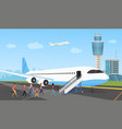 people in airport queue travelers and aircraft vector image vector image