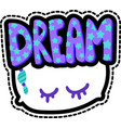 pillow with dream lettering stitched frame patch vector image vector image