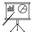 presentation board with chart icon vector image vector image