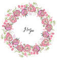 round floral garland with rose flowers decoration vector image