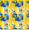 seamless pattern tropical birds palm leaves vector image vector image