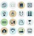 Set of 16 computer hardware icons includes music vector image