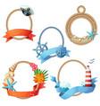 set sea frames ropes with anchors seashells vector image