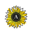 sunflower circle monogram sunflower frame vector image