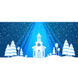 the church and christmas tree cut from white paper vector image vector image